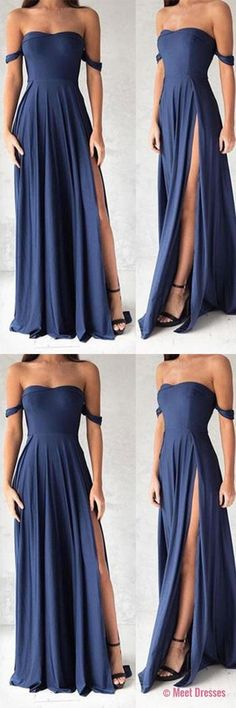 Navy Blue Prom Dresses,Elegant Evening Dresses,Long Formal Gowns,Slit Party Dresses,Chiffon Pageant Formal Dress PD20186800