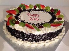 EGG-LESS CAKE WITH FRESH CREAM Happy 2015, Fresh Cream, Party Supplies, Egg, Birthday Cake, Cakes, Desserts, Food, Eggs