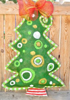Christmas Tree Burlap Door Hanger by stackhouseLA on Etsy