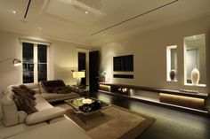 Contemporary living room. LED lighting