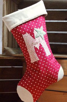 Personalised Red Spotty Christmas Stocking via Emily Carlill, christmas sewing ideas, Christmas Sewing Projects, Xmas Crafts, Christmas Decorations Sewing, Christmas Makes, Christmas Fun, Christmas Morning, Christmas Sticking, Christmas Bunting, Homemade Christmas