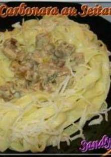 Faites chauffer un peu d'huile dans une poêle, et faites-y revenir les dés de seitan et ajou... Seitan, Pasta Carbonara, Cabbage, Vegetables, Food, Al Dente, Tagliatelle, Cooking Recipes, Veggies
