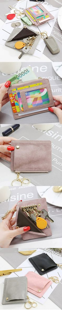 US$8.21 Women Portable PU Leather Key Bag Card Holders