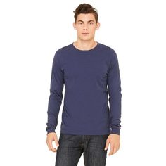 Bella + Canvas Men's Navy Jersey Long-Sleeve T-Shirt