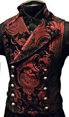 Shrine Gothic Vampire Cavalier Vest Jacket Victorian Tapestry Goth Steampunk for sale online Gothic Men, Gothic Steampunk, Steampunk Clothing, Steampunk Fashion, Victorian Gothic Fashion, Steampunk Vest, Victorian Vampire, Steampunk Couture, Victorian Dresses