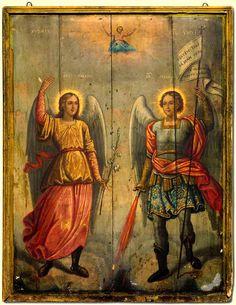 Sfinții Arhangheli Mihail și Gavriil Byzantine Icons, Byzantine Art, Religious Images, Religious Art, Dark Artwork, Best Icons, Archangel Michael, Catholic Art, Guardian Angels