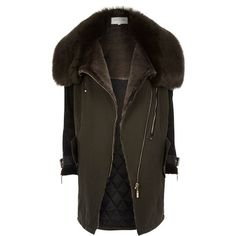 River Island Khaki faux fur lined parka winter coat ($260) ❤ liked on Polyvore featuring outerwear, coats, jackets, coats / jackets, khaki, parkas, women, parka coat, long sleeve asymmetric coat and faux fur lined coat