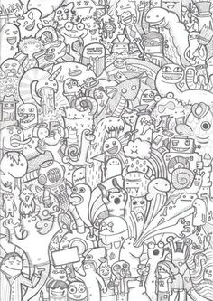 Drawing Doodles Sketches doodle drawing msnele - A doodle is an unfocused or unconscious drawing made while a person's attention is otherwise occupied. Doodles are simple drawings that can have concrete representational meaning or may just be Doodle Coloring, Cartoon Coloring Pages, Coloring Book Pages, Vexx Art, Doodle Monster, Graffiti Doodles, Doodle Characters, Doodle Art Drawing, Doodle Doodle
