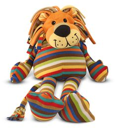 Beeposh Elvis Lion Stuffed Animal : This charismatic lion stuffed animal is dapper in his soft pastel stripes. Elvis will charm you with his captivating smile and unruly multicolored mane, then win you over completely with his super-soft hugs! Ultra-soft fleece covering is machine washable.