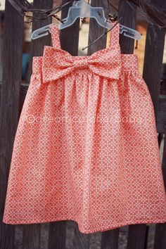 Coral big bow toddler dress - i could so make this without a pattern. so cute.