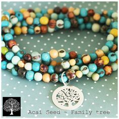Blue and yellow mix acai seed necklace with my family tree pendant