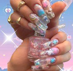 347 images about kidcore ♡.°୭̥ ୨୧ on We Heart It Edgy Nails, Funky Nails, Stylish Nails, Trendy Nails, Swag Nails, Cute Acrylic Nail Designs, Best Acrylic Nails, Anime Nails, Really Cute Nails