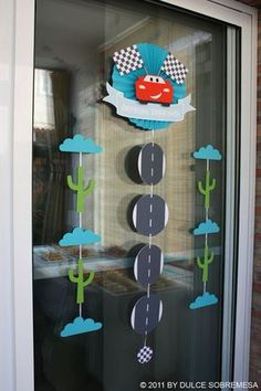Front door decor Disney Pixar's Cars Birthday Party- Lighting Mcqueen Party - Kara's Party Ideas - The Place for All Things Party Car Themed Parties, Cars Birthday Parties, 2nd Birthday Parties, Birthday Ideas, Cake Birthday, Lightning Mcqueen Party, Lightening Mcqueen, Auto Party, Race Car Party