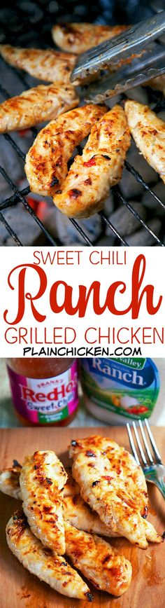 Sweet Chili Ranch Grilled Chicken - only 2 ingredients in the marinade! Let the chicken marinate a few hours to overnight for maximum flavor. OMG! This chicken was CRAZY good! We made it two nights in a row. Great as a main dish or on top of a salad. Perf