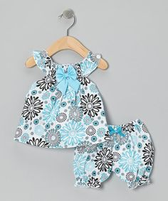 Take a look at this Blue Modern Flower Bow Dress & Bloomers - Infant by the Silly Sissy on #zulily today!