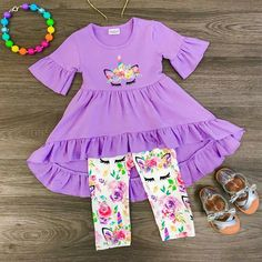Lavender Unicorn Hi-Low Tunic Set Cute Outfits For School, Girls Summer Outfits, Dresses Kids Girl, Little Girl Outfits, Little Girl Fashion, Toddler Outfits, Baby Boy Outfits, Kids Fashion, Girls Boutique