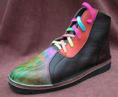 Handmade Leather Shoes High Top - Cowhide Red Black Green Rainbow Airbrushed Elements Patterned Custom Made or Size 5, 6, 7, 8, 9, 10 by thoseshoes on Etsy https://www.etsy.com/listing/101344844/handmade-leather-shoes-high-top-cowhide
