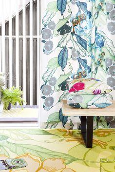 Kameleontti curtain, cushions and rug by Saara Kurkela
