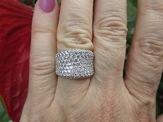 18 KT White Gold Pave Concave Diamond Cigar Band Design Wide Ring ESTATE 3.00 CT