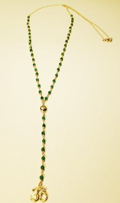 Green Onyx with Gold Ohm and Evil Eye Gold Rosary by JaBellaJewels, $85.00