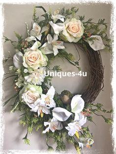 A personal favorite from my Etsy shop https://www.etsy.com/listing/535095323/silk-flowers-wreath-birdie-green-wreath