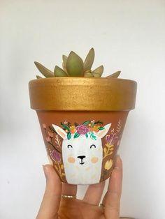 Hand Painted Llama with Flower Crown 4 Plant Pot Terra Cotta Succulent Succulent Planter Big Plants, Exotic Plants, Potted Plants, Painted Plant Pots, Painted Flower Pots, Flower Pot Design, Sympathy Flowers, Posca, Flowers Online