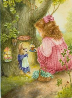 A girl in a pink dress brought a cake to bunny's birthday. Susan Wheeler