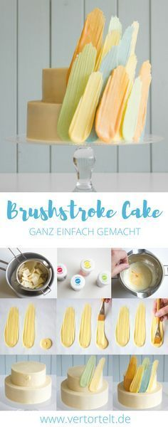 Brushstroke Cake with simple step-by-step instructions - Torten Design - Cake Design Creative Cake Decorating, Birthday Cake Decorating, Creative Cakes, Chocolate Cake Frosting, Butter Frosting, Buttercream Icing, Mini Cakes, Cupcake Cakes, Cupcakes