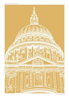 A3 Graphic Art Travel Poster Print - London Icons: St Paul's - Custom Colour £16.00