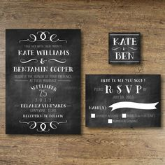 Printable Wedding Invitation  Chalkboard Vintage by OhDarlingPaper, $35.00
