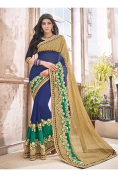 Festival Wear Blue Georgette Saree  - 17965