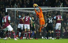 West Ham 0 Stoke City 0 : Stoke City goalkeeper Jack Butland climbs highest to pluck the ball out of the air to deny West Ham from a corner kick