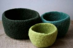 A set of bowls to knit and felt and fill with acorns, river rocks, and buttons.