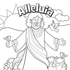 Alleluia, Jesus is Alive, free Easter coloring page for kids. Free Easter Coloring Pages, Easter Coloring Sheets, Easter Bunny Colouring, Bible Coloring Pages, Coloring Books, Kids Coloring, Adult Coloring, Sunday School Kids, Sunday School Crafts