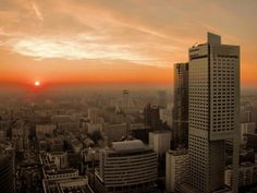 Sunrise in Warsaw. Poland