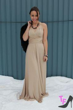 Henkaa S Sakura Beige Maxi Convertible Dress On Toronto Fashionista