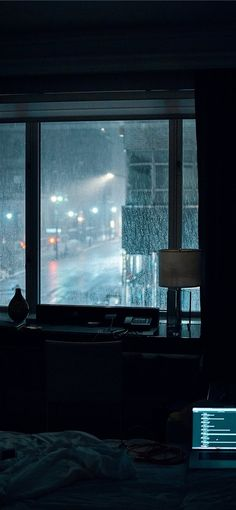 Photo by Gian Cescon on Unsplash laptop computer left turned-on on bed inside room during rainy night Night Aesthetic, City Aesthetic, Aesthetic Bedroom, Aesthetic Grunge, Rainy Night, Rainy Days, Night Rain, Snow Night, Night Night