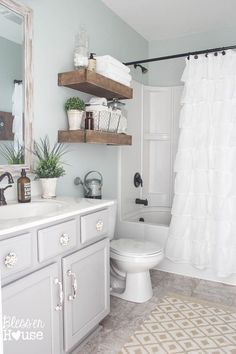 Modern Farmhouse Bathroom Makeover - adding charm to  a builder grade bathroom!  Walls SW Sea Salt, cabinets BM Winter Gates, Moen Vestige Centerset Faucet, shelves stained with Minwax Walnut, Distressed White Driftwoood Mirror, ruffled shower curtain, boxwood plants, white towels, apothecary jars for storage