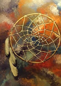 """Native American Dreamcatcher Painting 18x24 Acrylic On Canvas Southwest Decor Native American Greeting Card for sale by Tamara Dalrymple.  Our premium-stock greeting cards are 5"""" x 7"""" in size and can be personalized with a custom message on the inside of the card.  All cards are available for worldwide shipping and include a money-back guarantee."""