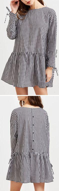 Black And White Checkered Tie Sleeve Ruffle Hem Dress