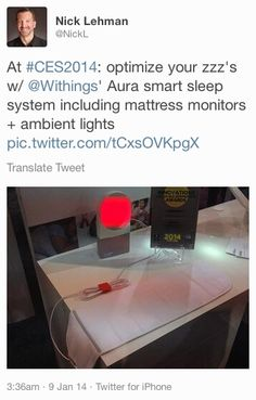 """Nick Lehman (twitter.com/NickL) tweeted: """" At #CES2014: optimize your zzz's w/ Withings' Aura smart sleep system including mattress monitors + ambient lights pic.twitter.com/tCxsOVKpgX """" Learn more: http://www.withings.com/en/aura"""