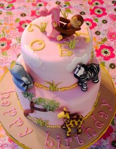 Pink Safari First Birthday Cake - Cake by Hiromi Greer