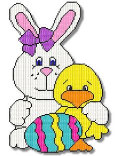 Plastic Canvas - Quick & Easy Patterns - Primsy Bunny With a Duck and Egg