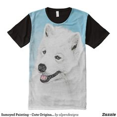 Samoyed Painting - Cute Original Dog Art All-Over-Print Shirt - Visually Stunning Graphic T-Shirts By Talented Fashion Designers - #shirts #tshirts #print #mensfashion #apparel #shopping #bargain #sale #outfit #stylish #cool #graphicdesign #trendy #fashion #design #fashiondesign #designer #fashiondesigner #style