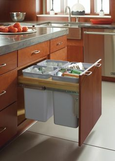 """When it comes to cabinetry #organization, we've got you covered. That's why Hawaii HOME + Remodeling magazine named our Diamond Cabinets Trash & Recycling Base Cabinet Pullout an """"Editor's Pick"""" for must-have home #storage solutions. This trash bin cabinet keeps trash and recycling organized and out of sight so a cleaner, less cluttered kitchen is achievable and accessible."""