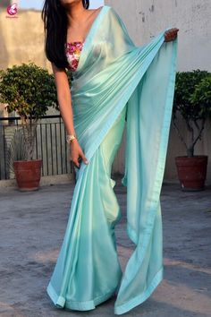 Buy sea green silk georgette saree sarees online in india colorauction Trendy Sarees, Stylish Sarees, Fancy Sarees, Simple Sarees, Silk Saree Blouse Designs, Saree Blouse Patterns, Saree Draping Styles, Saree Styles, Dress Indian Style