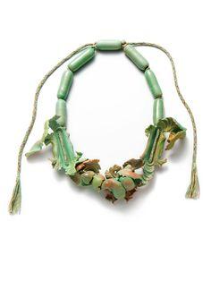 Ineke Heerkens  SENTIMENTAL SEDIMENT collier - 2013-14 ceramic, hand braided cord - 320 x 225 x 40 mm
