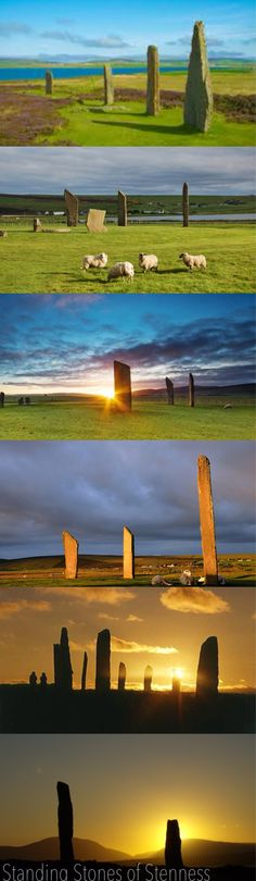 The Stones of Stenness  The Stones of Stenness may be the earliest henge monument in the British Isles, built around 5,400 years ago. The site now lacks its encircling ditch and bank, though excavation has shown the ditch to be 4m wide and 2.3m deep. The four surviving standing stones, stone stumps and concrete markers outline an oval that was around 30m in diameter.