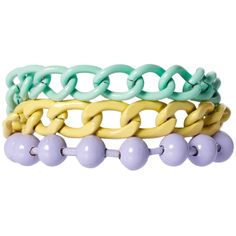Asos Pastel Coated Mixed Chain Bracelet ($13) ❤ liked on Polyvore