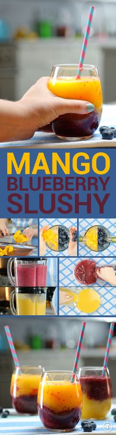 With just three ingredients -- wine, mango, and blueberries, duh -- this Hungry Happens-inspired slushy is as easy to make as it is to drink.